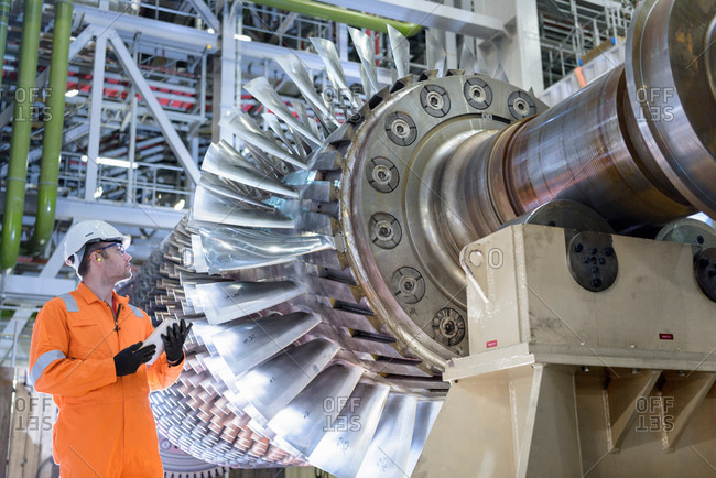 Gas turbine under repair in gas-fired power station