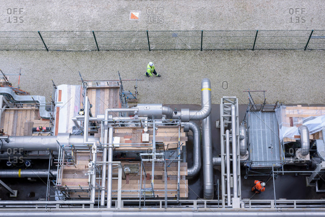 Overhead view of pipework under repair in gas-fired power station