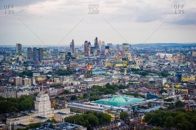 Elevated cityscape and skyline at dusk, London, England, UK