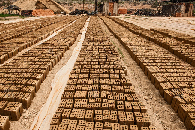 Rows of bricks at factory, Thakhek, Khammouane, Laos