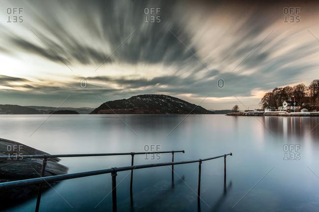 Railings submerged in water, Oscarsborg, Drobak, Norway