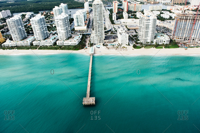 Aerial view of pier and skyscrapers, Sunny Isles, Miami, Florida, USA
