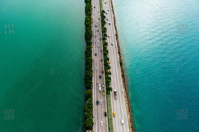 Aerial view of interstate 395 highway through ocean, Biscayne Bay, Miami, Florida, USA