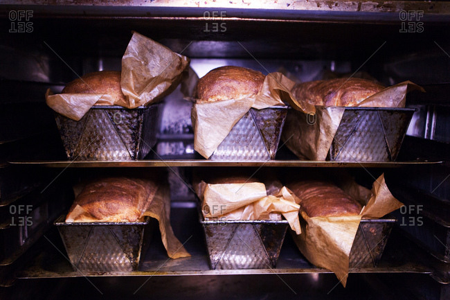 Six freshly baked bread loaves in oven