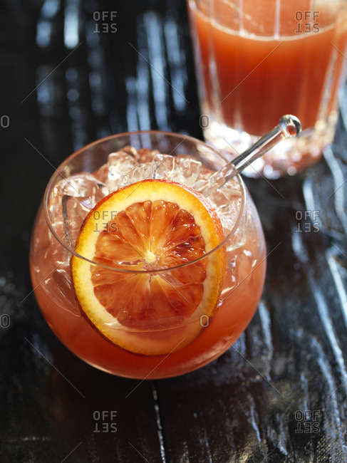Blood orange cocktail with cocktail shaker