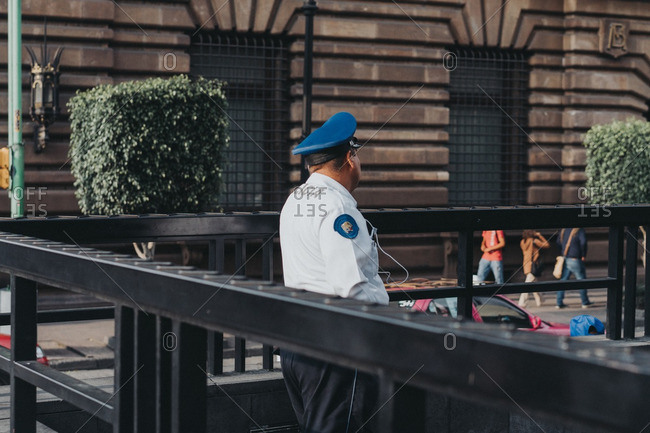 Police officer in downtown Mexico City