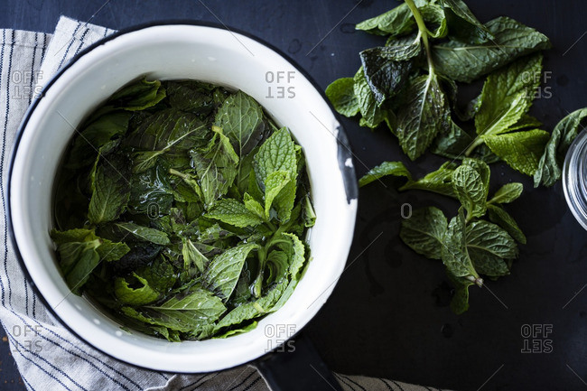 Fresh mint leaves in a bowl