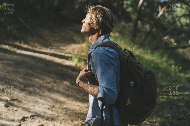 Man wearing a backpack standing alongside a forest trail in the sunlight