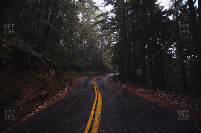 Two lane highway in the mountains of California