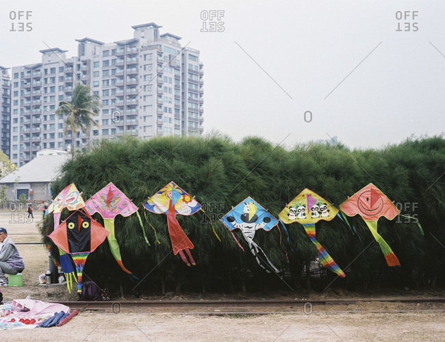 Kaohsiung, Taiwan - April 18, 2015: Kites hung from bushes at the Pier 2 Art Center in the Yangcheng District in Kaohsiung, Taiwan