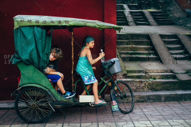 June 6, 2016: Kids on a bike taxi