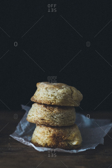 Three biscuits in stack