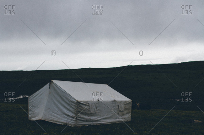 A tent structure in rural setting