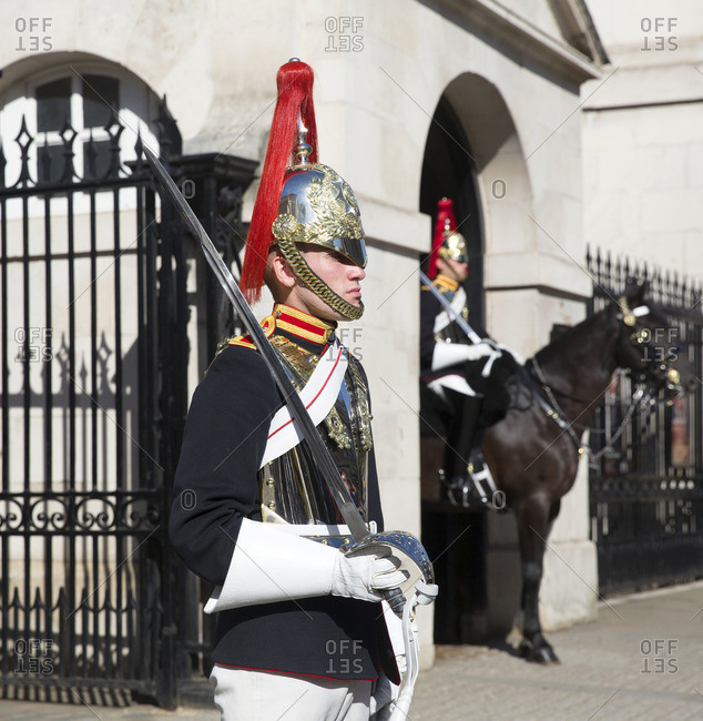 London, England - September 11, 2016: Members of the Queen's Cavalry, Whitehall