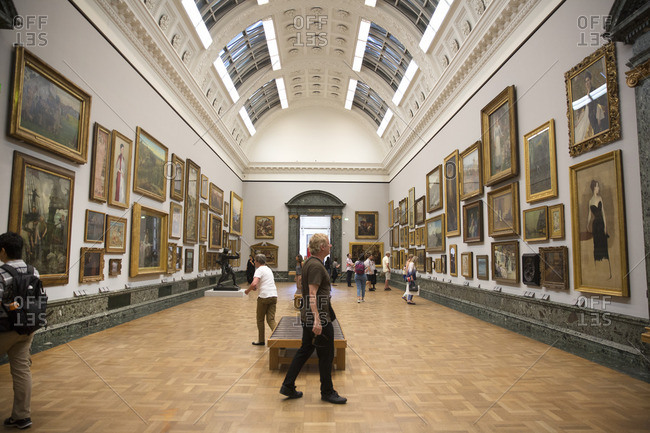 London, England - September 15, 2016: Visitors viewing paintings in the National Gallery