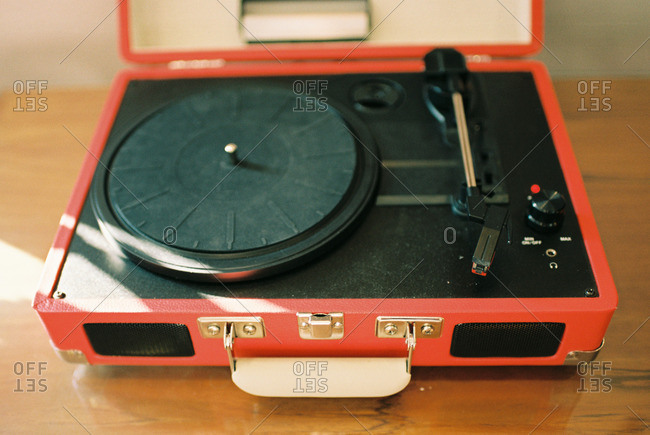 Vintage red record player