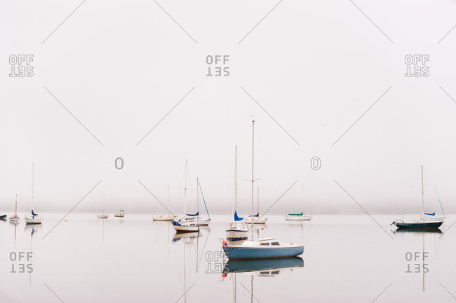September 27, 2016: Boats in a harbor on a foggy day
