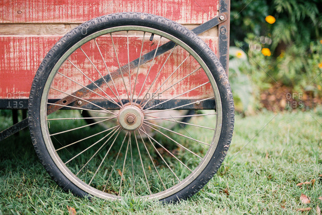 Close up of wheel on an old cart