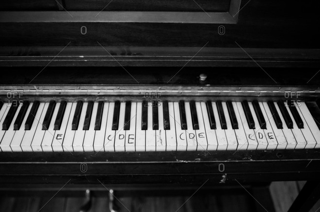 Piano with letters written on the keys