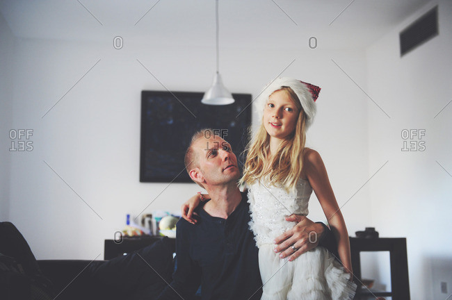 Girl and dad at Christmastime