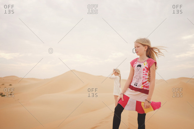 Girls in the desert of the UAE