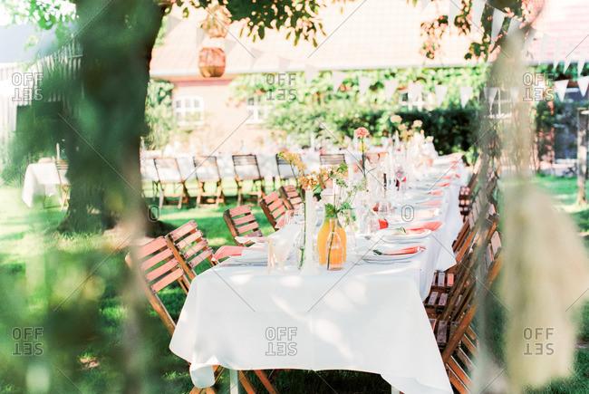 Wedding reception table in yard