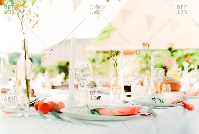 Close up of wedding table arrangement