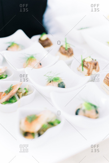 Wedding hors d'oeuvres in bowls