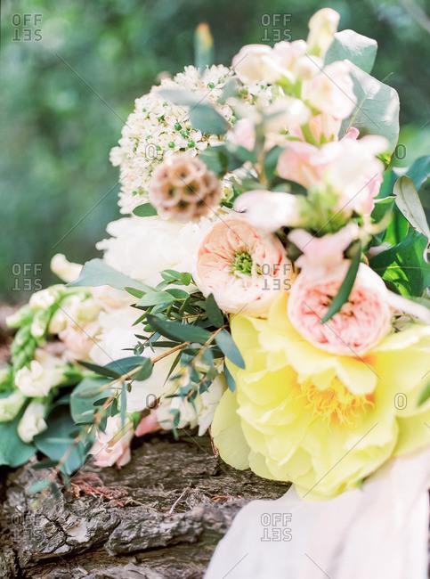 Bridal flowers on wood