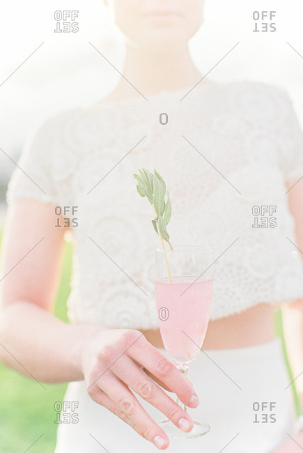 Woman at wedding with drink