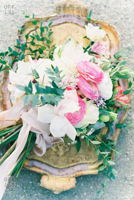 Wedding bouquet on platter