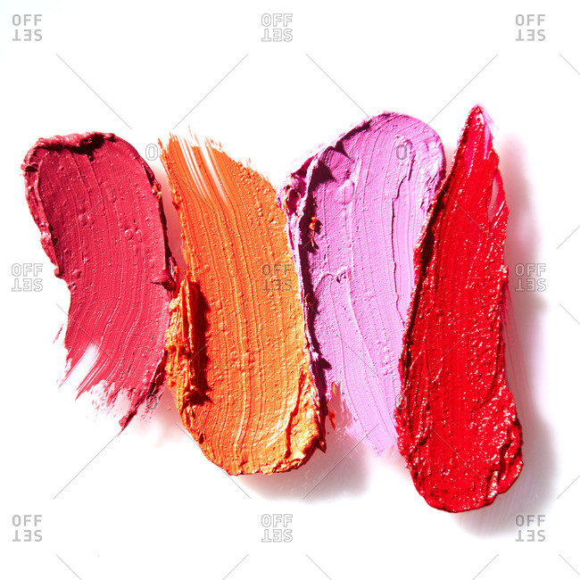 Smudges of different colored lipstick