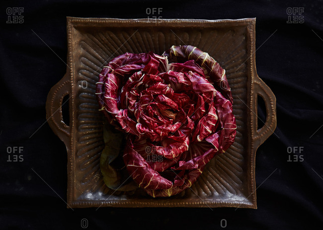 Radicchio in a served in a square dish