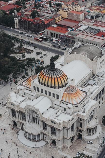 Mexico City, Mexico - August 11, 2016: Aerial view of the Palacio de Bellas Artes in Mexico City