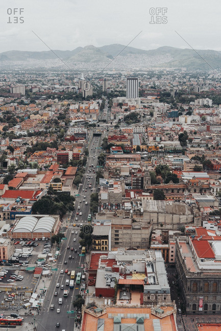 Mexico City, Mexico - August 11, 2016: Aerial view of road through Mexico City neighborhood
