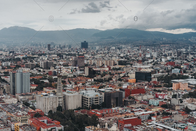 Mexico City, Mexico - August 11, 2016: Aerial view of Mexico City skyline