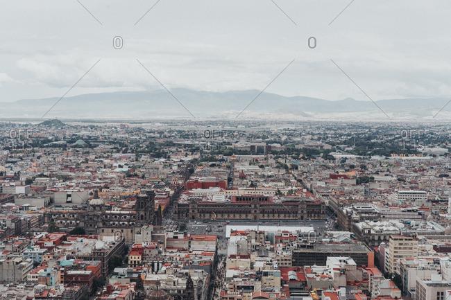 Mexico City, Mexico - August 11, 2016: Aerial view of sprawling Mexico City skyline