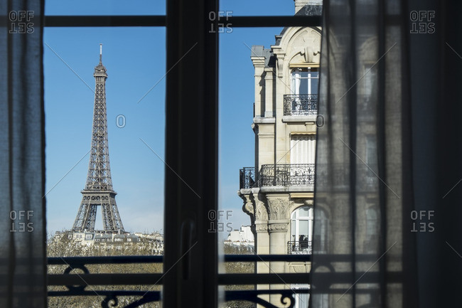 Eiffel Tower visible from a window in Paris, France