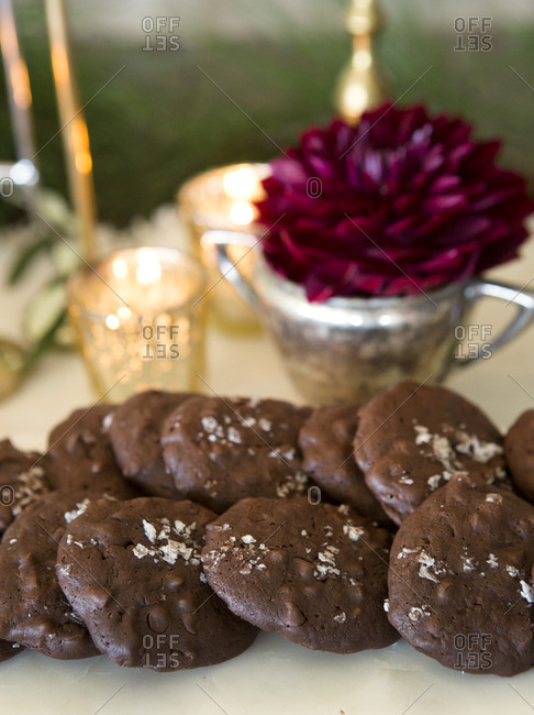 Chocolate cookies topped with salt