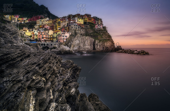 Manarola village at sunrise, Cinque Terre National Park, Cinque Terre, Liguria, Italy