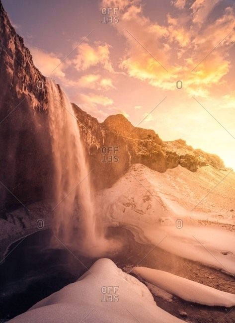 Kirkjufell mountain and waterfalls during winter, Iceland
