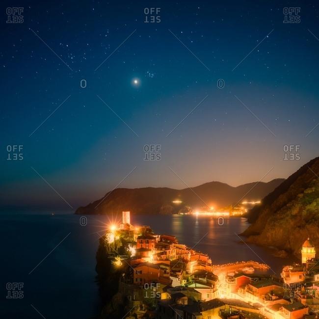 Vernazza village at night, Cinque Terre National Park, Cinque Terre, Liguria, Italy