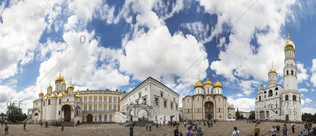 Moscow, Russia - July 23, 2016: The Cathedral Square inside Moscow's Kremlin