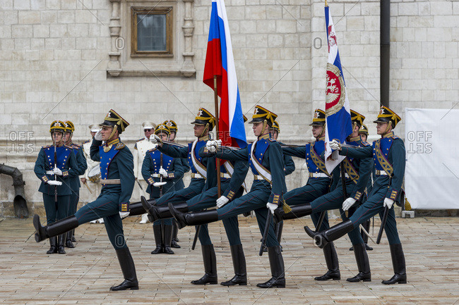 Moscow, Russia - July 23, 2016: The changing of the guard that takes place every Saturday at midday inside the Kremlin of Moscow