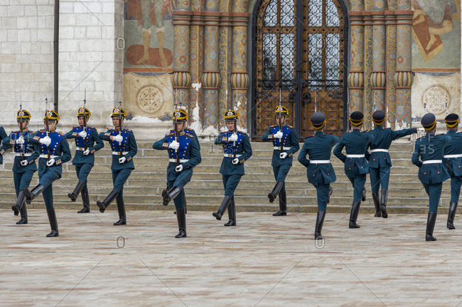 Moscow, Russia - July 23, 2016: Changing of the guards ceremony in Cathedral Square in the Moscow Kremlin