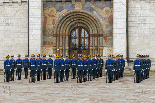 Moscow, Russia - July 23, 2016: Guards at the entrance of the Dormition Cathedral in Cathedral Square in the Moscow Kremlin