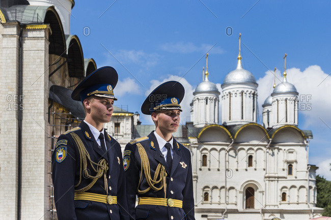 Moscow, Russia - July 23, 2016: Guards with the Church of the Twelve Apostles in the background