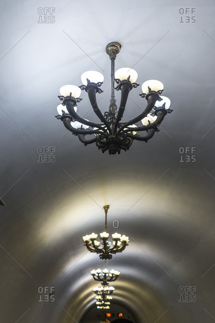 Chandeliers inside one of the stations of the famous Moscow Metro