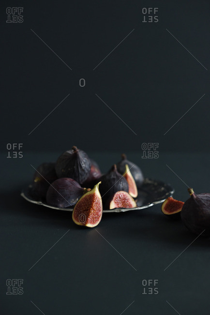 Figs on silver tray