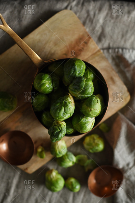 Brussels sprouts in a copper pan